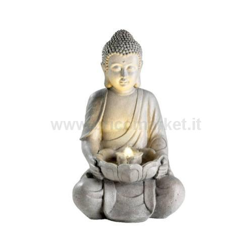FONTANA CON BUDDHA BIANCO 34X42XH71CM CON 4 LED A LUCE CALDA REAL TOUCH