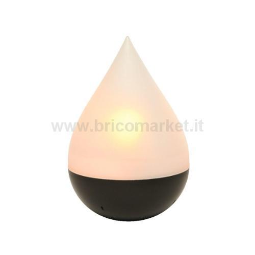 LAMPADA GOCCIA SOLARE 12 LED EFFETTO FIAMMA D.15XH21CM IN PLASTICA OPALE CON BASE NRA