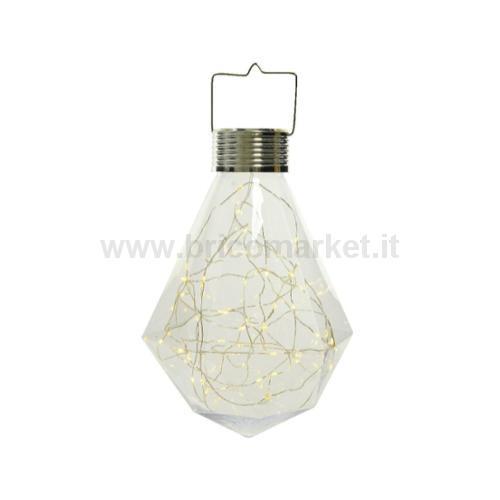 LAMPADA BULBO SOLARE 50 MICROLED-FLASH A LUCE CALDA D.20XH33CM IN PLASTICA TRASPARENTE