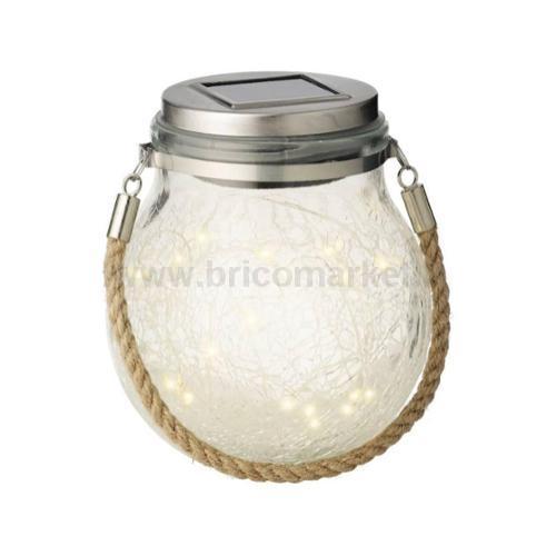 LAMPADA BARATTOLO SOLARE 20 LED-FLASH A LUCE CALDA D.12XH14CM IN VETRO CRAQUELE