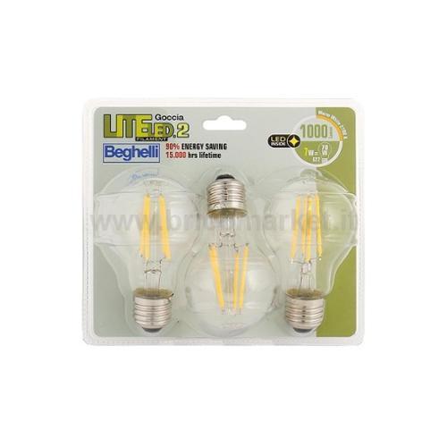 TRIPACK LAMPADA LED GOCCIA FILAMENTO E27 7W 2700K LITELED