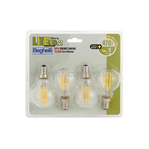 QUADRIPACK LAMPADA LED SFERA FILAMENTO E14 4W 2700K LITELED