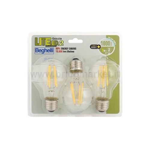 TRIPACK LAMPADA LED GOCCIA FILAMENTO E27 7W 6500K LITELED