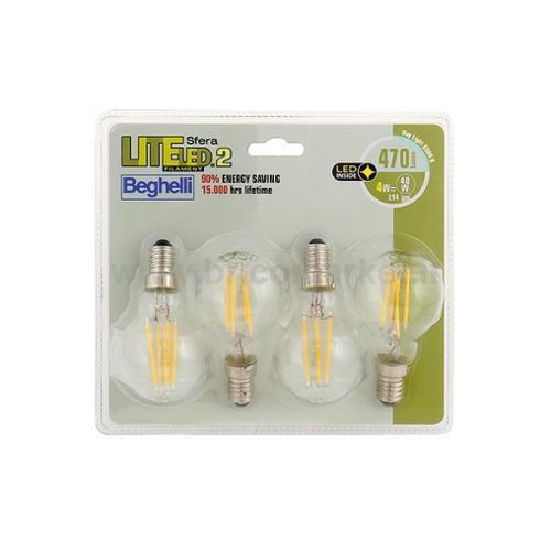 QUADRIPACK LAMPADA LED SFERA FILAMENTO E14 4W 6500K LITELED
