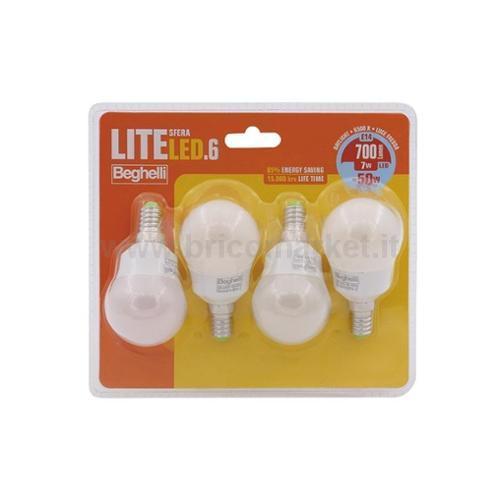 QUADRIPACK LAMPADA LED SFERA E14 7E 6500K LITELED