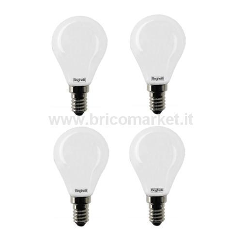 QUADRIPACK LAMPADA LED SFERA E14 5W 4000K TUTTOVETRO OPALE