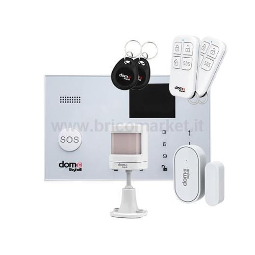 KIT CENTRALE ALLARME DOM-E WIFI/GSM CON 2 TELECOMANDI E 2 CHIAVI MAGNETICHE