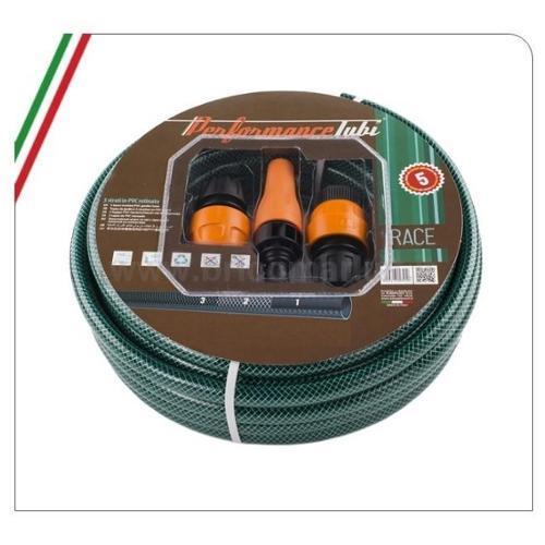 TUBO IRRIGAZIONE KIT RACE 15M 1/2- 3 STRATI IN PVC RETINATO CON LANCIA E ACCESSORI