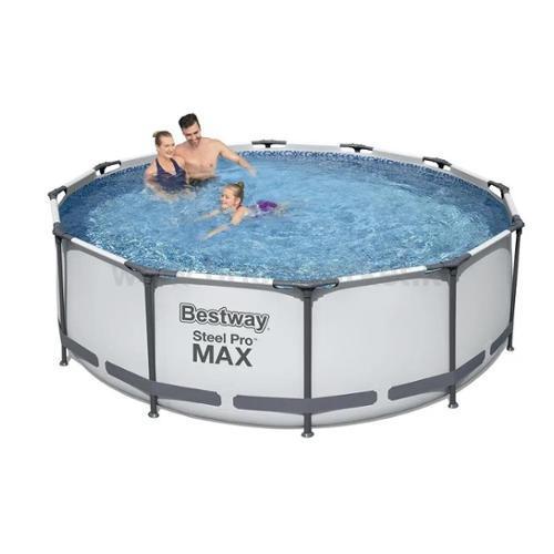PISCINA STEEL PRO MAX D.366XH100CM 9150L CON POMPA FILTRO, SCALETTA, DISPENSER CLORO E COPERTURA